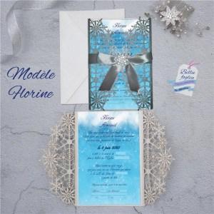faire-part mariage pochette ciselée bleu argent hiver