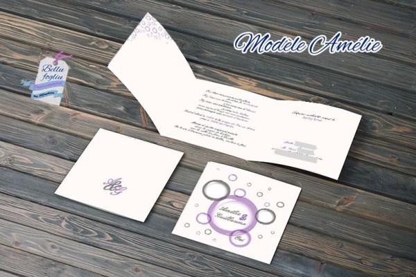 faire-part mariage bulles violet