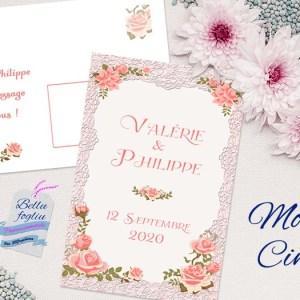 faire-part mariage shabby dentelle rose