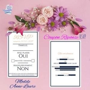 Coupon-réponse, invitation – Carte RSVP