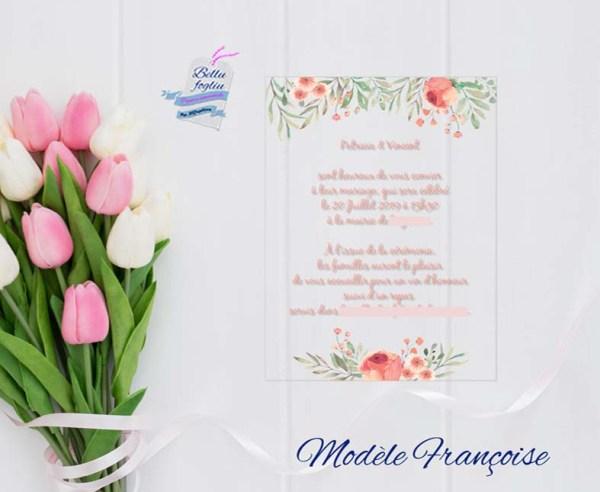 faire-part mariage plexiglas fleurs