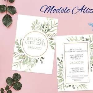 save the date mariage nature feuilles aquarelle
