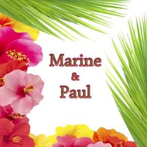 faire-part mariage tropical palme exotique hibiscus