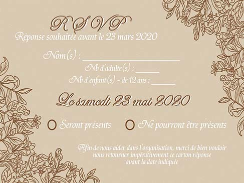 faire-part mariage pochette ciselée nature feuille beige chocolat