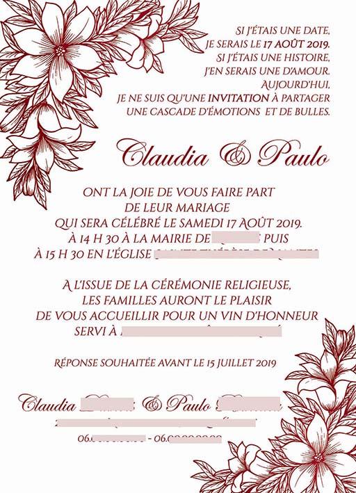 Faire-part mariage pochette ciselée fleurs bordeaux