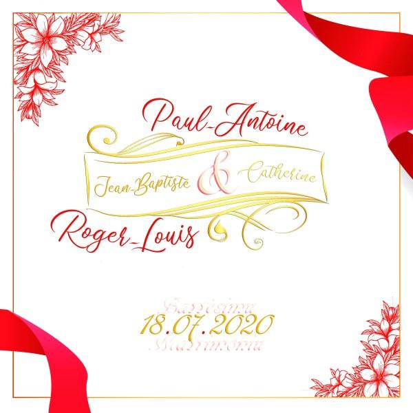 faire-part mariage rouge et or ruban et fleurs