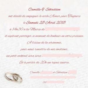 faire-part mariage alliances rose