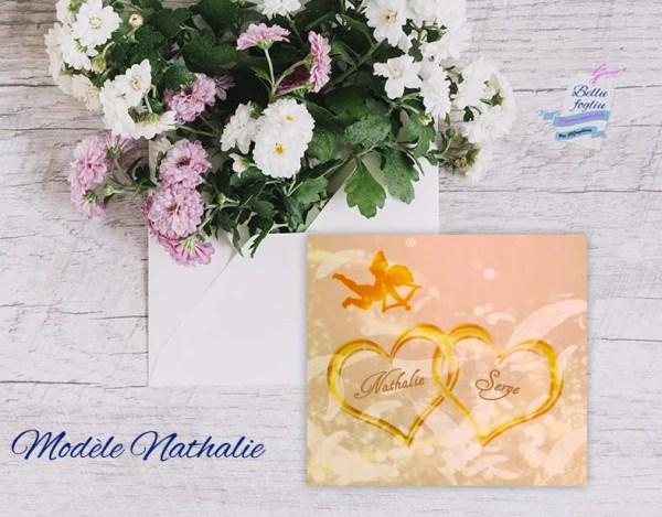 faire-part mariage ange plume rose doré