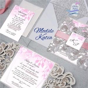 faire-part mariage pochette ciselée argent fleurs rose
