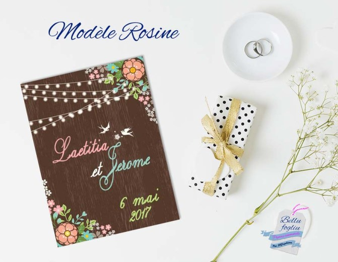 faire-part mariage bucolique retro guirlande fleurs oiseau bois