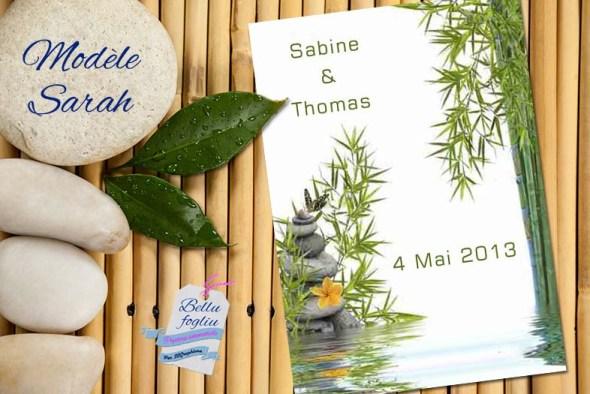 faire-part mariage bambou zen nature