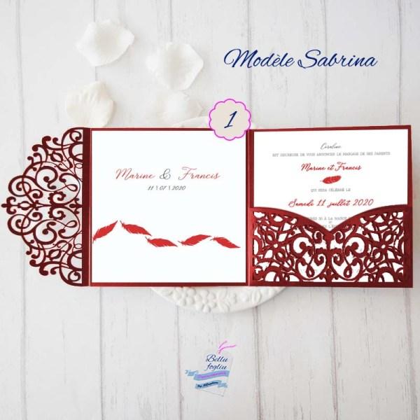 faire-part mariage pochette ciselée plume