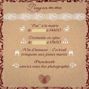 faire-part mariage pochette kraft dentelle bordeaux