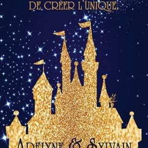 faire-part mariage chateau disney bleu et or