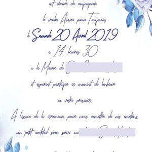 faire-part mariage pochette ciselée fleurs bleu et or