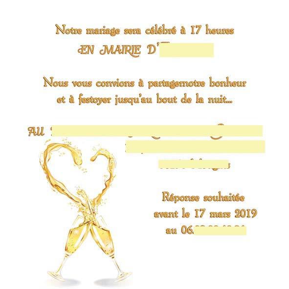 faire-part mariage champagne or bulles doré