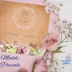 faire-part mariage kraft rose fleurs couronne
