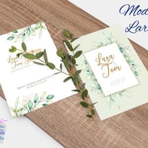 faire-part mariage eucalyptus aquarelle vert et or