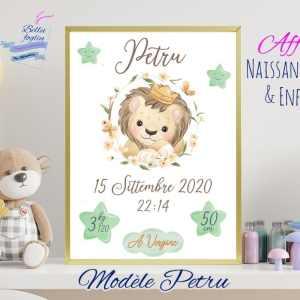 Affiche Naissance Bébés Enfants lion lionceau étoile