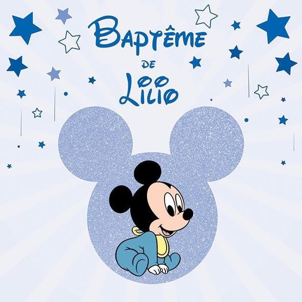 Faire-part baptême baby disney mickey minnie étoile paillettes