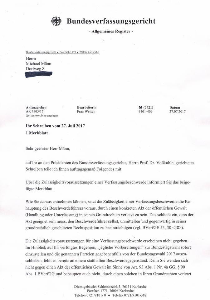 Antwortschreiben des Bundesverfassungsgerichtes - Schäbels Blog ...
