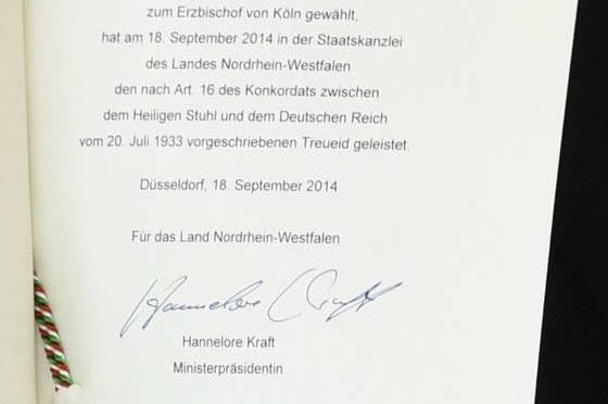 Treue-Eid des Erzbischofes zu Köln Woelki