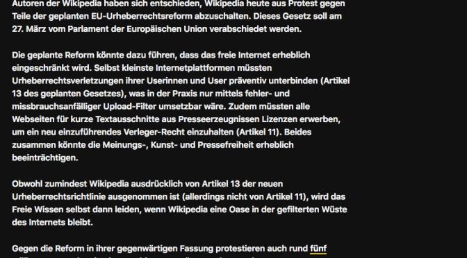 Wikipedia und die Urheberrechtsreform