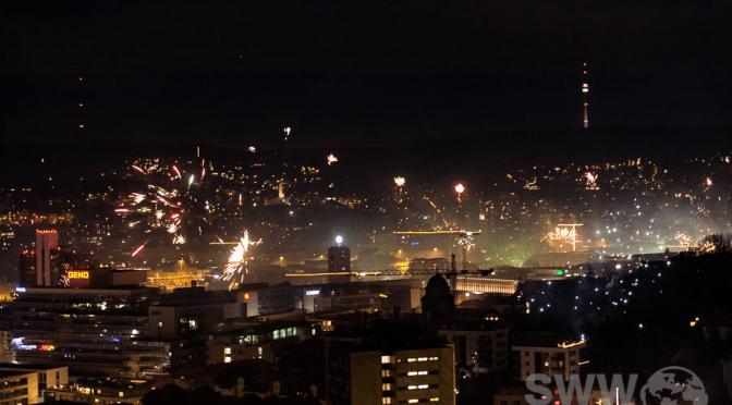 Frohes neues Jahr über Stuttgart