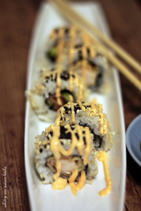 Ebi Tmpura Inside-Out-Roll Sushi