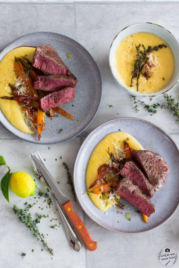 Rinderfiletsteak auf Polenta mit glasierten Möhren 1