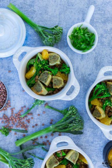Alblinsensalat mit Maultaschen, Brokkoli und Orange Schätze aus meiner Küche BÜRGER