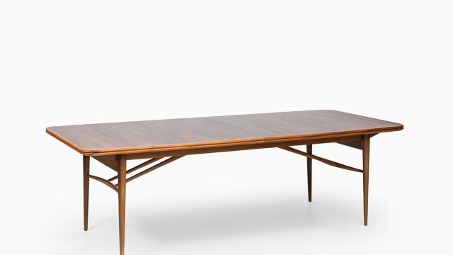 Large dining table in rosewood and mahogany at Studio Schalling