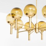Sven Mejlstrøm ceiling lamp in brass and glass at Studio Schalling