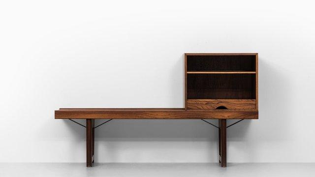 Torbjørn Afdal Krobo bench with LP box at Studio Schalling
