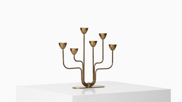 Gunnar Ander candlestick in brass at Studio Schalling
