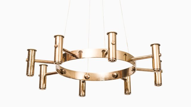 Hans-Agne Jakobsson chandelier in brass at Studio Schalling