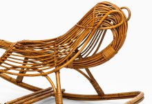 Children rocking chair in rattan and cane at Studio Schalling