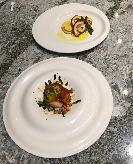 Both of my team's dishes side by side.