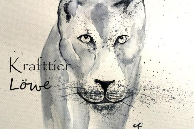 Krafttier Löwe, Bedeutung, Aquarell, gemalt