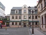 "Rechts unser Hotel ""Radnice"", geradeaus unsere Lieblingskneipe"