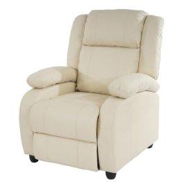 Fernsehsessel Relaxsessel Liege Sessel Lincoln, Kunstleder ~ creme -