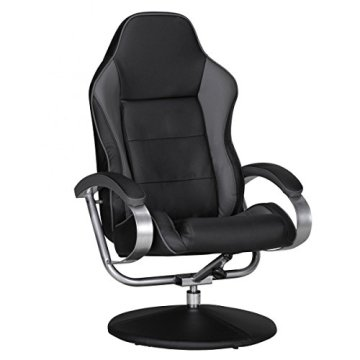 FineBuy Fernsehsessel SPEEDY TV Design Relax-Sessel verstellbar Racing Modern Bezug Kunstleder schwarz / grau drehbar mit Hocker Racer X-XL 110 kg mit Armlehnen und Hocker Gaming Sessel ohne Motor -