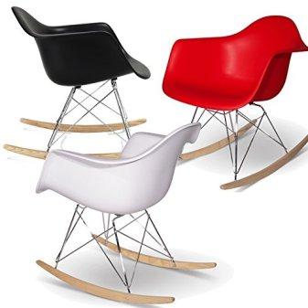 Mobistyl Promo Schaukelstuhl Design Inspiration, Füße helles Holz, Edelstahl silber -