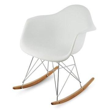 oneConcept Aurel Stuhl Schaukelstuhl Schalenstuhl (Retro PP-Schale, Sitzkomfort, schmale Armlehne, 43 cm Sitzhöhe, Birkenholz) weiß -