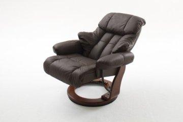 Robas Lund 64023BK5 Relaxsessel Calgary mit Hocker, Bezug: Leder braun 044 Gestell: wallnuss 006, 90 x 91-122 x 89-104 cm -