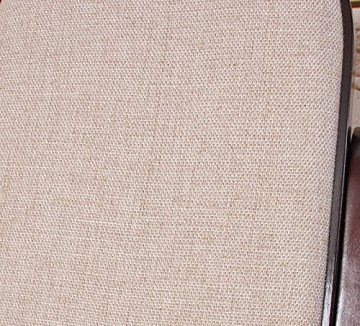 Schaukelstuhl Schwingsessel M41 aus Holz ~ Walnuss, Stoff beige -
