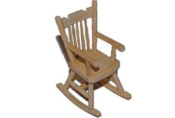 Schaukelstuhl Stuhl aus Holz - Miniatur für Puppenstube Puppenhaus - Puppenstuben - Maßstab 1:12- Wohnzimmer -