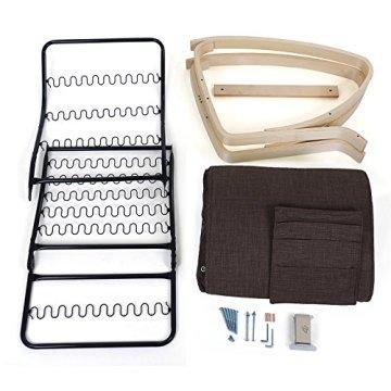 Songmics Schaukelstuhl aus Birkenholz mit Federrahmen Tasche Belastbarkeit 150 kg Leinen braun LYY12Z -