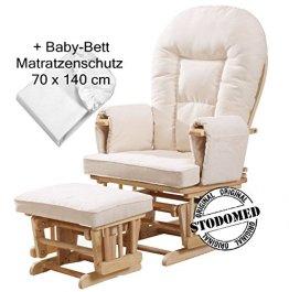 STODOMED Glider Stillstuhl + Hocker mit Schwingfunktion synchron verstellbare Lehne + Polster in Creme mit Baby-Bett Matratzenschutz 70 x 140 cm -