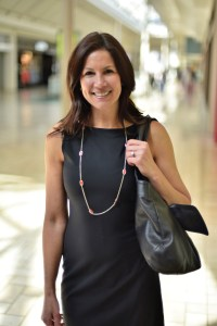 Featured here is Theory's Black Traceable Wool Dress from Nordstrom. Lori added a simple Kendra Scott strand for color.